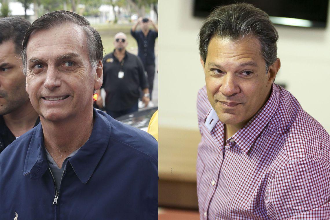Jair Bolsonaro e Fernando Haddad se enfretarão no segundo turno das eleições presidenciais no Brasil